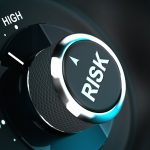 Button with the word risk pointing between medium and high level 3D render suitable for risk management or decision-making process situation. Depth of field.